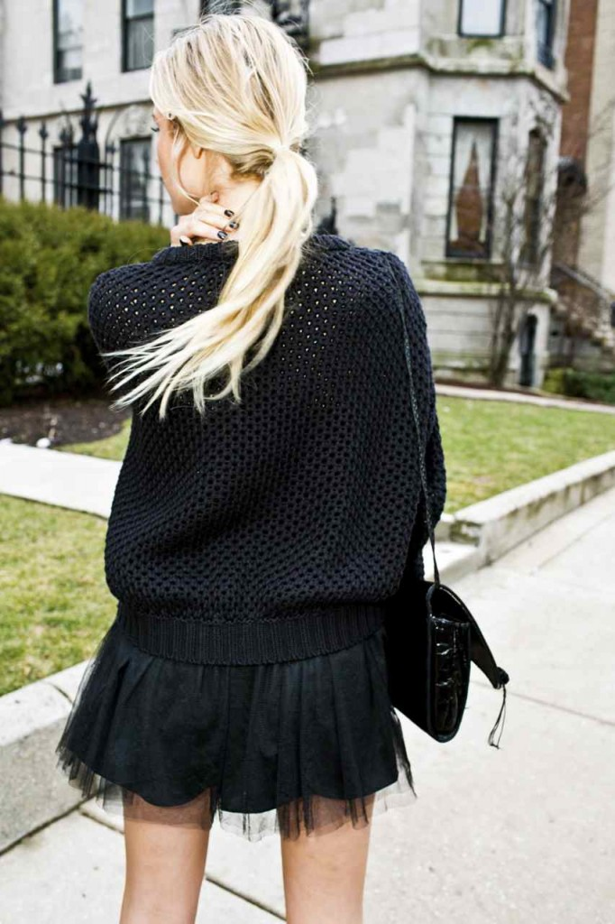 black tutu, black knit sweater