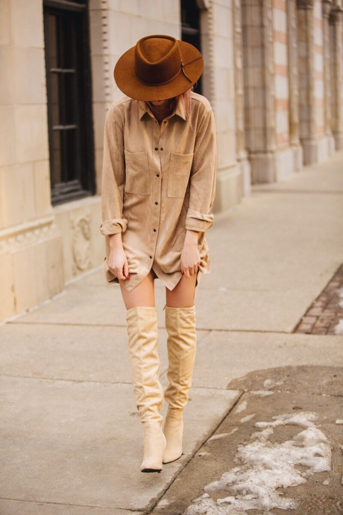 Neutral suede dress